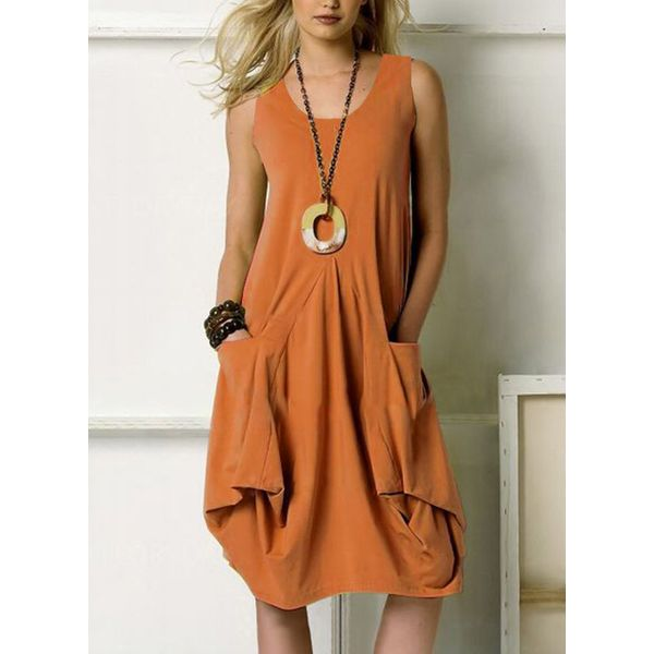 Airycloth coupon: Casual Solid Tunic Round Neckline A-line Dress (1955573201)