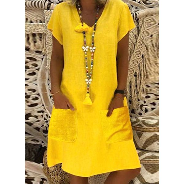 Airycloth coupon: Casual Solid Tunic V-Neckline A-line Dress (1955565395)