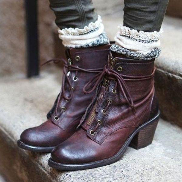 Women's Grommet Zipper Lace-up Ankle Boots Chunky Heel Boots (1625468067, Burgundy