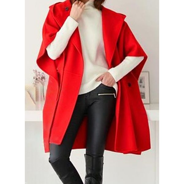 3/4 Sleeves Hooded Buttons Coats Capes (1715445550, Black;khaki;red