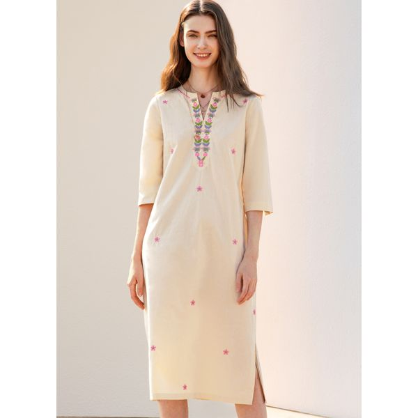 Airycloth coupon: Casual Floral Tunic V-Neckline Shift Dress (1955536723)