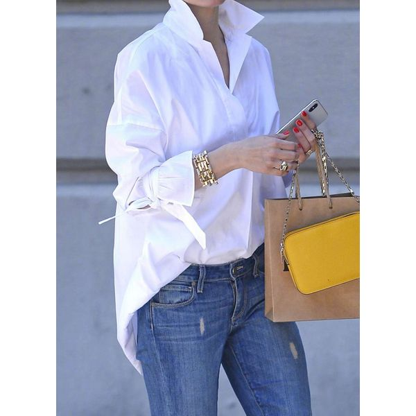 Solid Casual Stand Collar Long Sleeve Blouses (1645549921), FloryDay, White, Apparel & Accessories, Clothing  - buy with discount