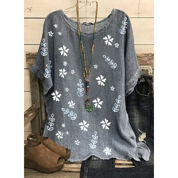 Floral Casual Round Neckline Half Sleeve Blouses (1645586936, Gray