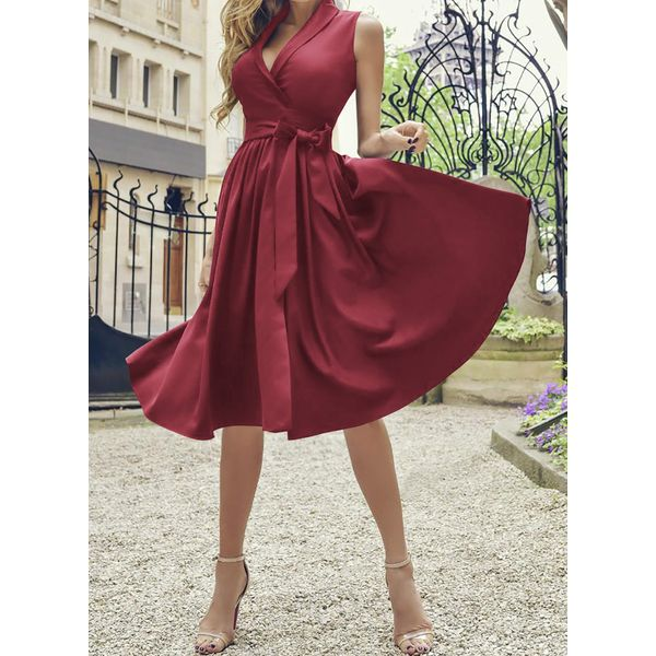 Airycloth coupon: Casual Solid Sashes V-Neckline X-line Dress (1955559004)