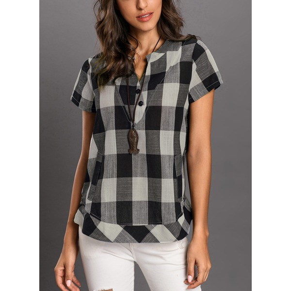 a001cc6af65 Check Casual V-Neckline Short Sleeve Blouses (1645143493) · Apparel    Accessories