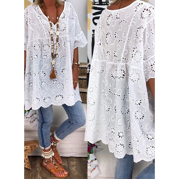 Airycloth coupon: Plus Size Solid Spring V-Neckline 3/4 Sleeves Blouses (1645606990)