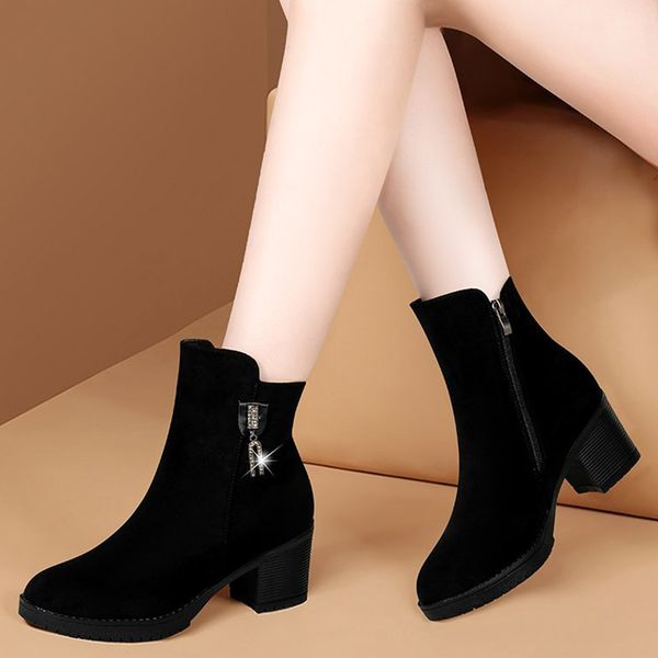 FloryDay / Women's Zipper Ankle Boots Closed Toe Cloth Chunky Heel Boots (1625674652)
