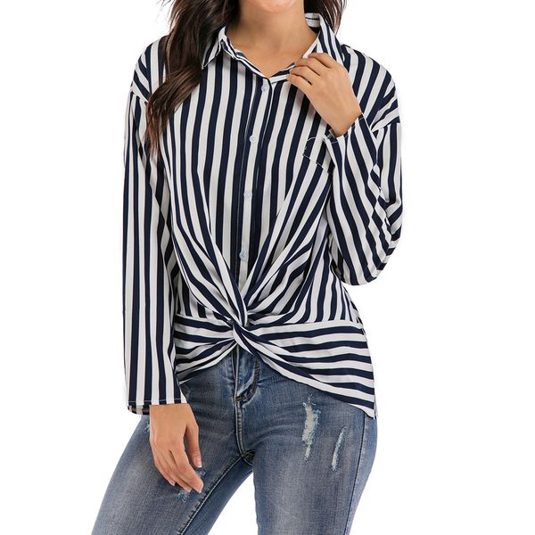 Stripe Casual Collar Long Sleeve Blouses (1645471488, Blue;red;yellow