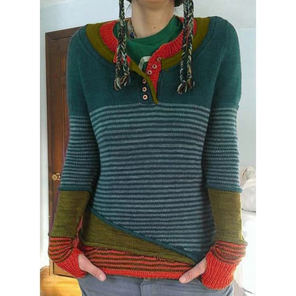 Airycloth coupon: Round Neckline Color Block Casual Tight Regular Shift Sweaters (1675520694)