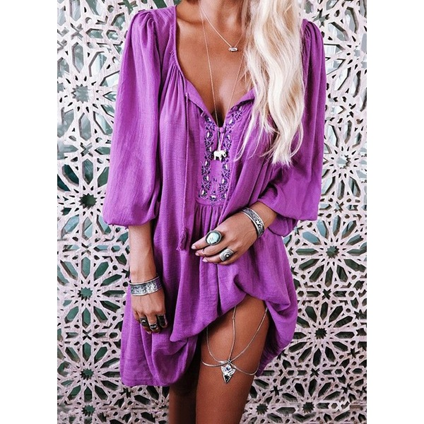 Solid Embroidery Shirt Above Knee Shift Dress (1955249798, Purple