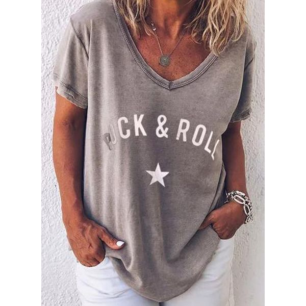 Alphabet V-Neckline Short Sleeve Casual T-shirts (1685554020), FloryDay, Gray, Apparel & Accessories, Clothing, Shirts & Tops  - buy with discount