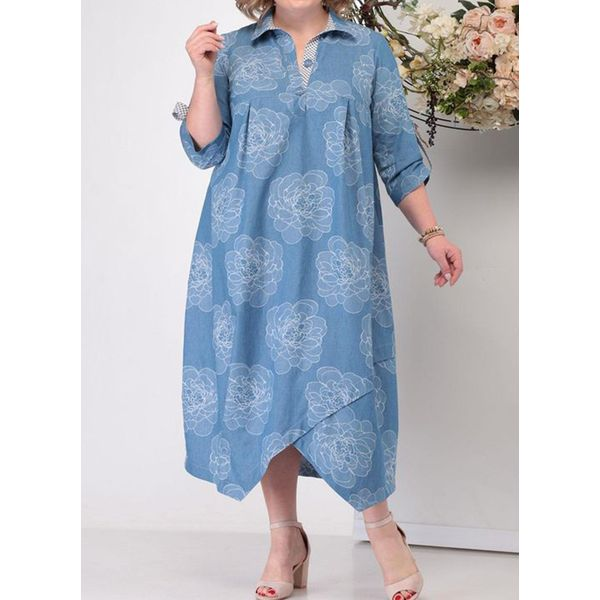 Plus Size Tunic Floral Collar Casual Buttons Plus Dress (30345801086) - Blue / 4XL, FloryDay, Apparel & Accessories, Clothing, Dresses  - buy with discount