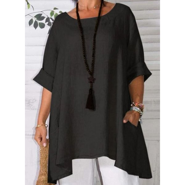 Airycloth coupon: Plus Size Solid Casual Round Neckline Half Sleeve Blouses (30355576117)