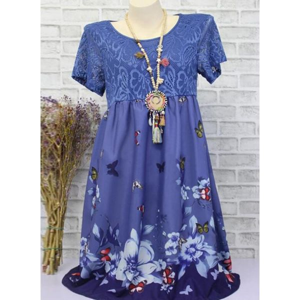 Casual Floral Tunic Round Neckline A-line Dress (1955598733, Blue;green;khaki;pink;red;dark blue;military green;serpentine