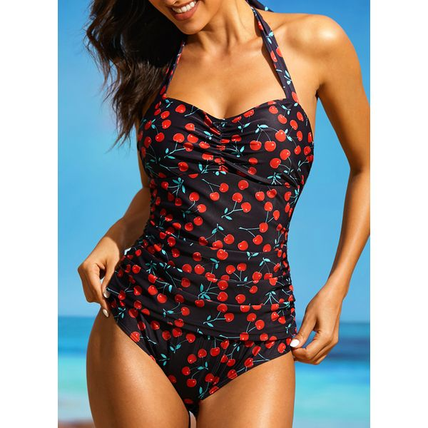 Plus Size Polyester Halter Pattern One-piece Swimwear (30015391523, Red