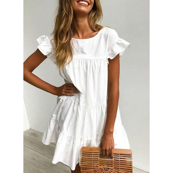 Airycloth coupon: Casual Solid Tunic Round Neckline A-line Dress (1955600593)