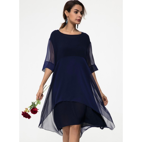 Airycloth coupon: Casual Solid Round Neckline Midi Shift Dress (1955607692)
