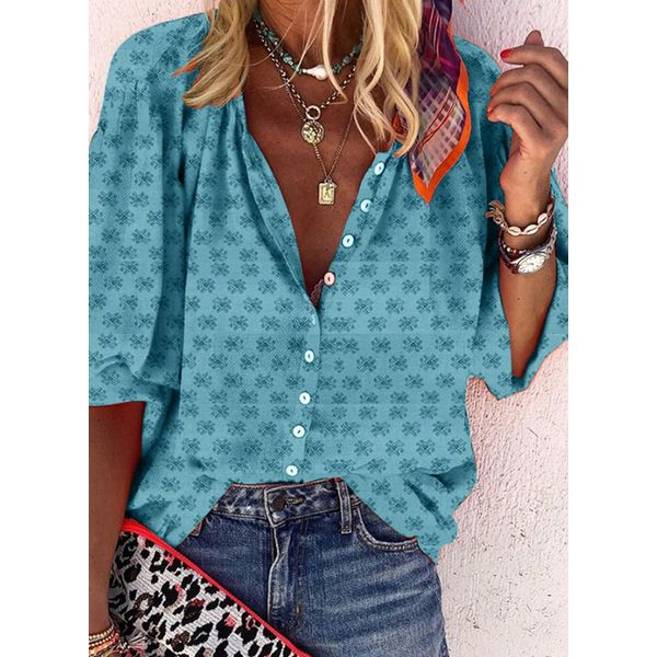 Airycloth coupon: Floral Casual V-Neckline Half Sleeve Blouses (1645595671)
