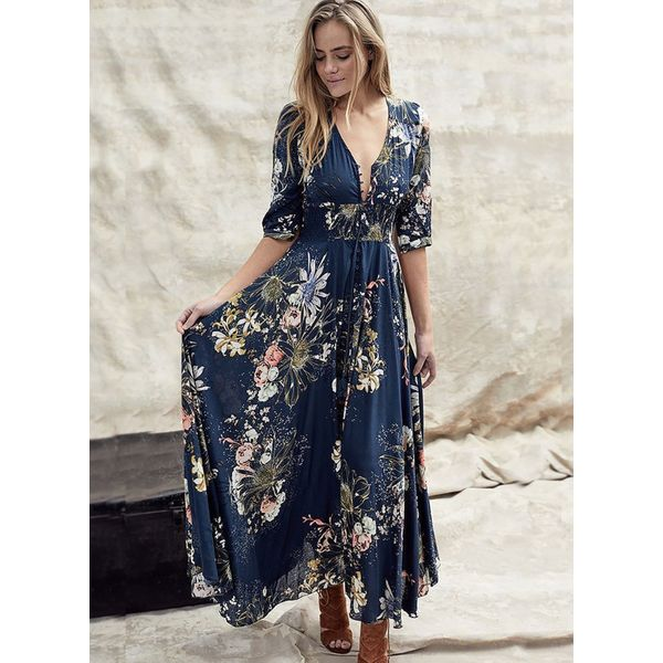 FloryDay / Floral Peasant V-Neckline Maxi X-line, Dress (1955426574)