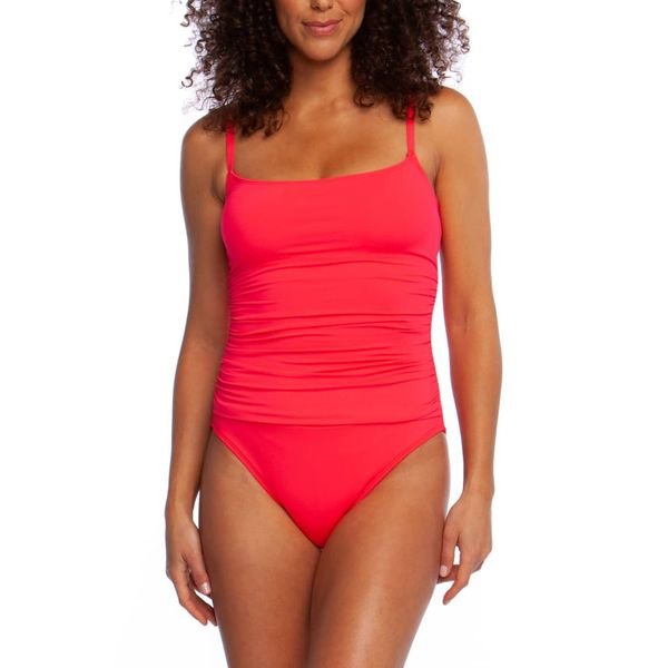 Plus Size Polyester Solid One-piece Swimwear (30015391757, Red
