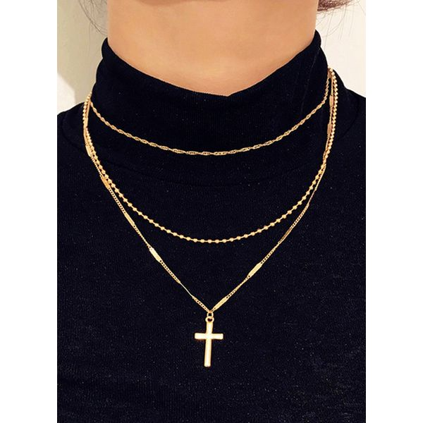 Casual Geometric No Stone Pendant Necklaces (1845577931, Gold;silver