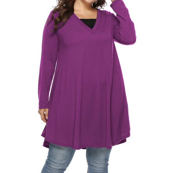 Plus Size Solid Square Neckline Casual Shift Blouses Long Sleeve Plus Blouses (30355455007, Green;pink;blue;purple;burgundy