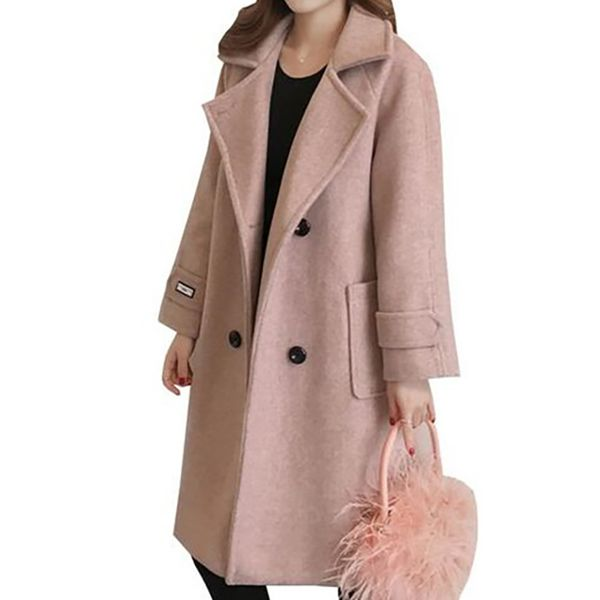 Green Monday Long Sleeve Lapel Buttons Trench Coats (1715526294, Off-white;black;pink