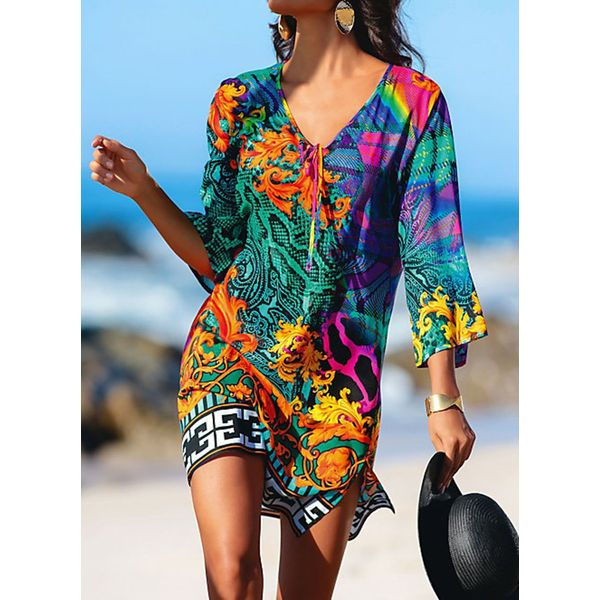 Airycloth coupon: Polyester High Neckline Pattern Cover-Ups Swimwear (30015546508)