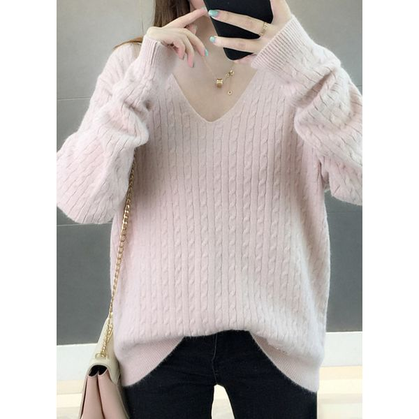 V-Neckline Solid Loose Regular Shift Sweaters (1675466248, Apricot;green;blue;pink;off-white