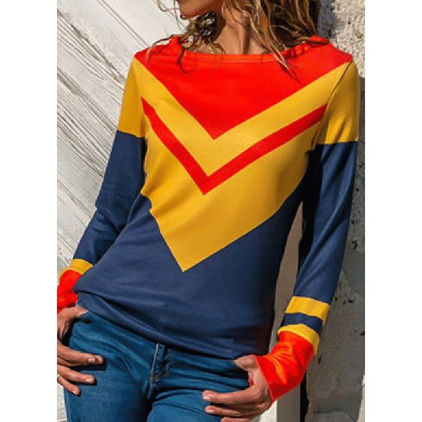 Color Block Casual Boat Neckline Long Sleeve Blouses (1645381478, Red
