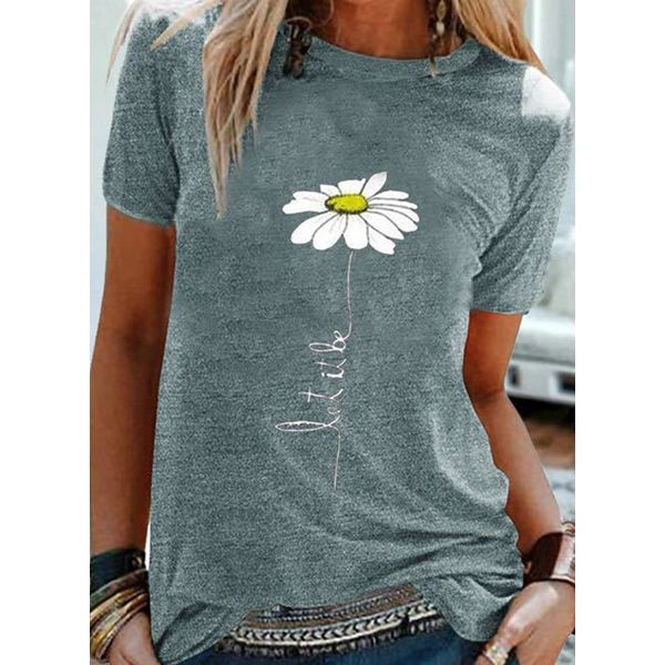 Floral Round Neck Short Sleeve Casual T-shirts (1685588252, Black;gray;light blue