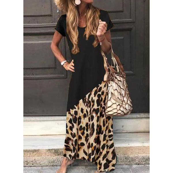Casual Leopard Tunic Round Neckline Shift Dress (1955540947), FloryDay, Black, Apparel & Accessories, Clothing, Dresses  - buy with discount