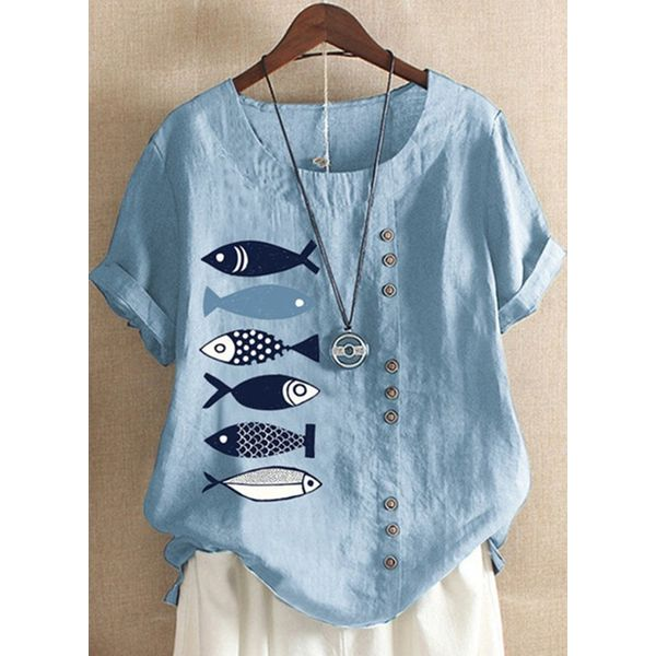 Airycloth coupon: Plus Size Animal Casual Round Neckline Short Sleeve Blouses (1645607344)