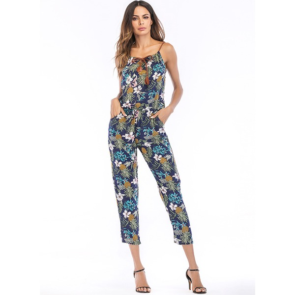 Floral Sleeveless Jumpsuits & Rompers (1735329451), White