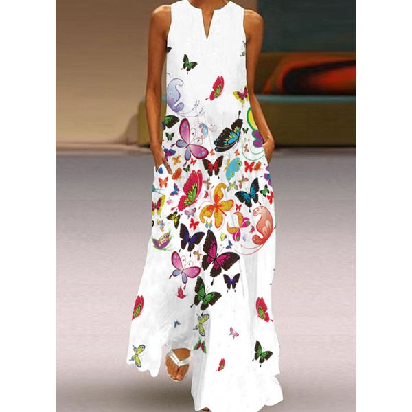 Animal Tunic V-Neckline Maxi A-line Dress (1955754244) - MultiColor / XXL, FloryDay, Apparel & Accessories, Clothing, Dresses  - buy with discount