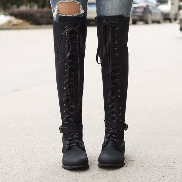 Women's Lace-up Knee High Boots Low Heel Boots (1625439742, Black;yellow;coffee