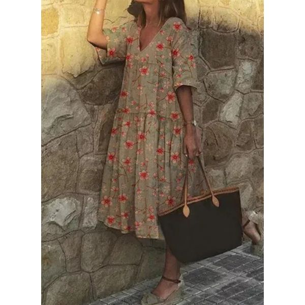 Airycloth coupon: Casual Floral Tunic V-Neckline Shift Dress (1955581194)