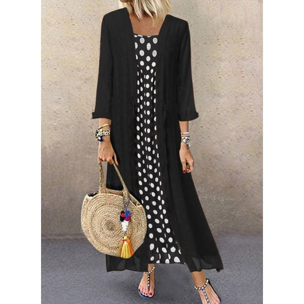 Plus Size Casual Polka Dot Round Neckline Maxi A-line Dress (1955607754, Black
