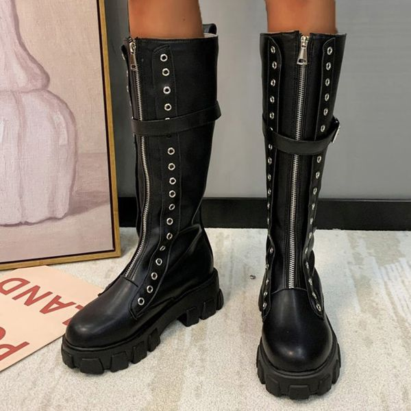FloryDay / Women's Grommet Buckle Zipper Knee High Boots Closed Toe Round Toe Chunky Heel Boots (1625660489)