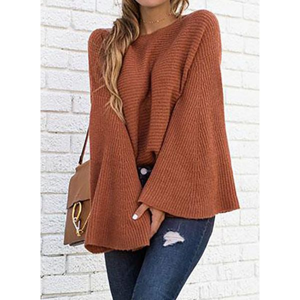 Round Neckline Solid Casual Loose Regular Shift Sweaters (1675489100, White;burgundy;coffee