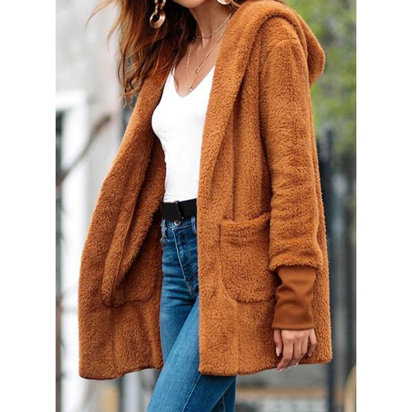 Green Monday Long Sleeve Hooded Buttons Coats (1715476332, Coffee
