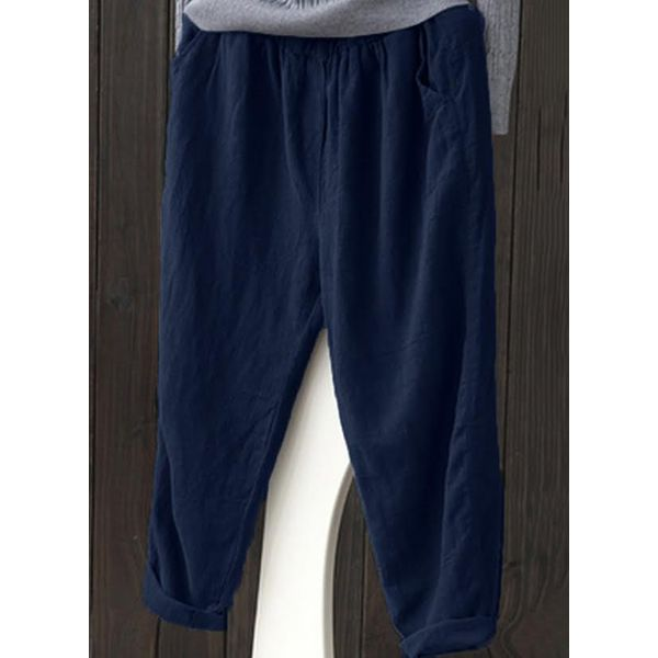 Straight Pockets Mid Waist Cotton Pants (01745501199) - Dark Blue / M, FloryDay, Apparel & Accessories, Clothing, Pants  - buy with discount