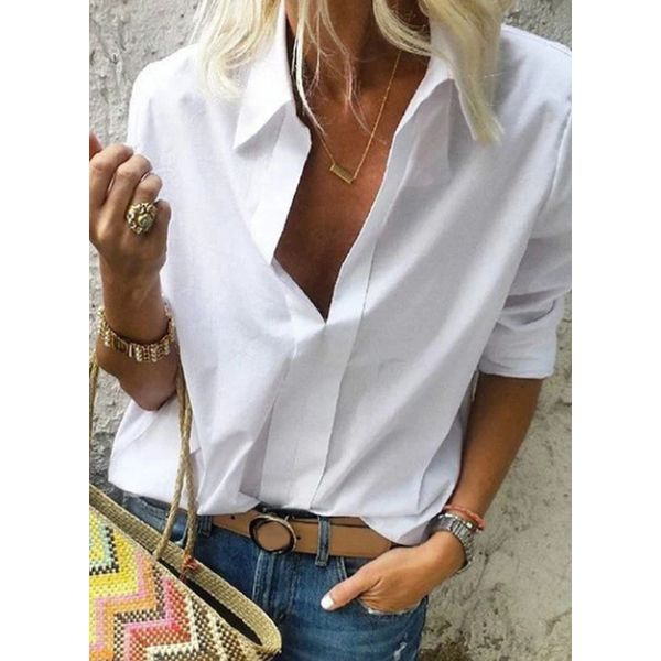 Airycloth coupon: Solid Casual V-Neckline 3/4 Sleeves Blouses (1645426764)