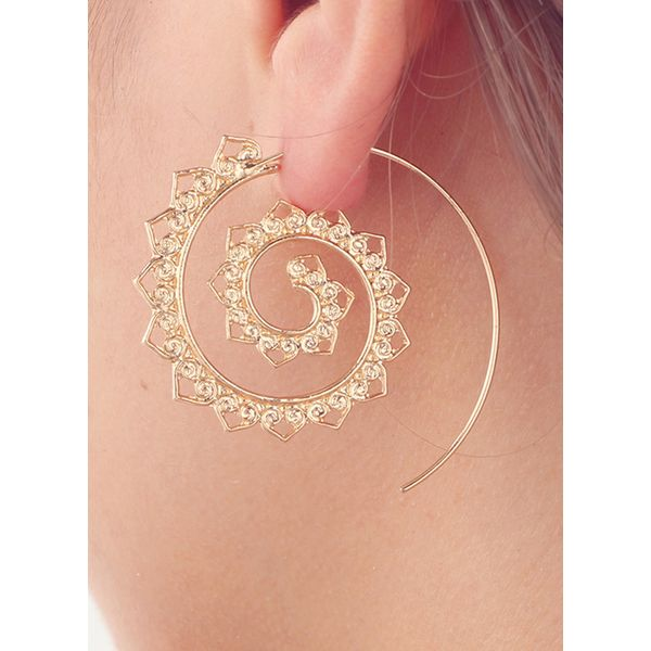 Round No Stone Hoop Earrings (1855418026, Gold;silver