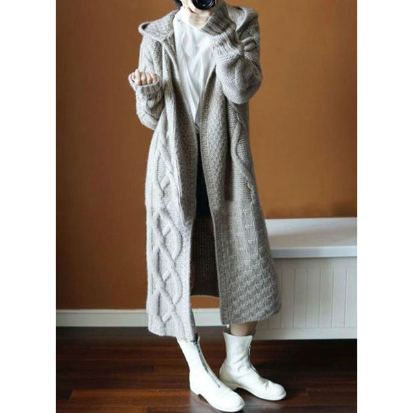 Long Sleeve Sweaters Coats (1715445485, Gray;brown