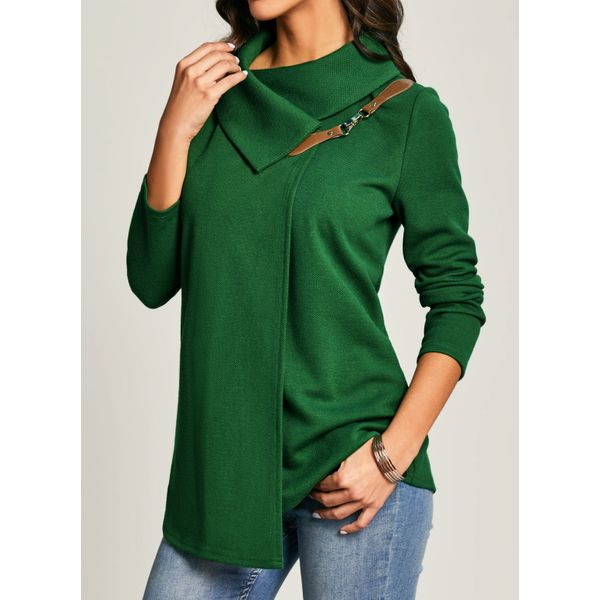 Airycloth coupon: Solid Casual Oblique Neckline Long Sleeve Blouses (1645458802)