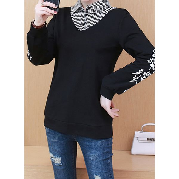 Color Block Casual Collar Long Sleeve Blouses (1645445214, Black