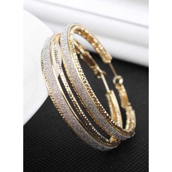 Round No Stone Hoop Earrings 1 pairs (1855324388, Gold;silver