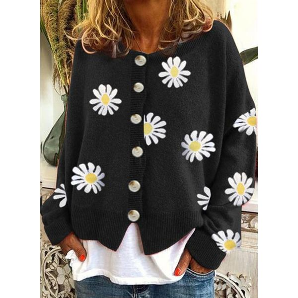 Round Neckline Floral Regular Buttons Shift Sweaters (1675634964) - Black / S, FloryDay, Apparel & Accessories, Clothing, Shirts & Tops  - buy with discount