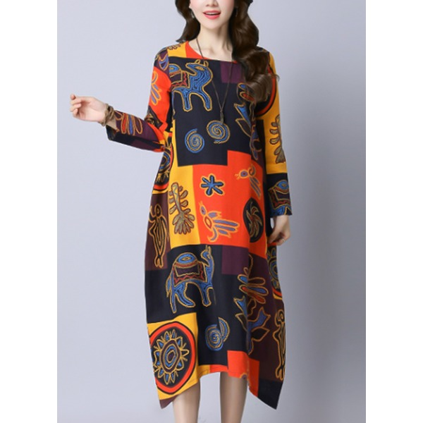 Color Block Long Sleeve Midi Shift Dress (1955330185), Red;yellow